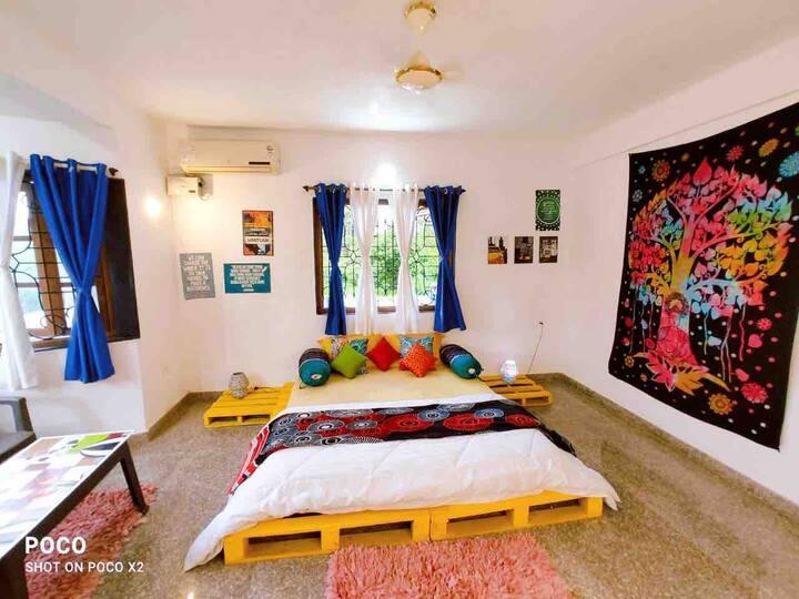 Boho decor yellow room with superfast wifi