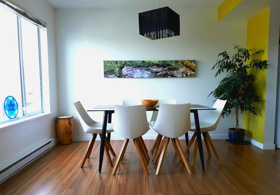 Dining room, with panoramic photo of nearby Holland Creek. Your breakfast (options are a blackberry smoothie, oatmeal with apples, or my homemade soda bread and blackberry jam, plus coffee or tea) is served here.