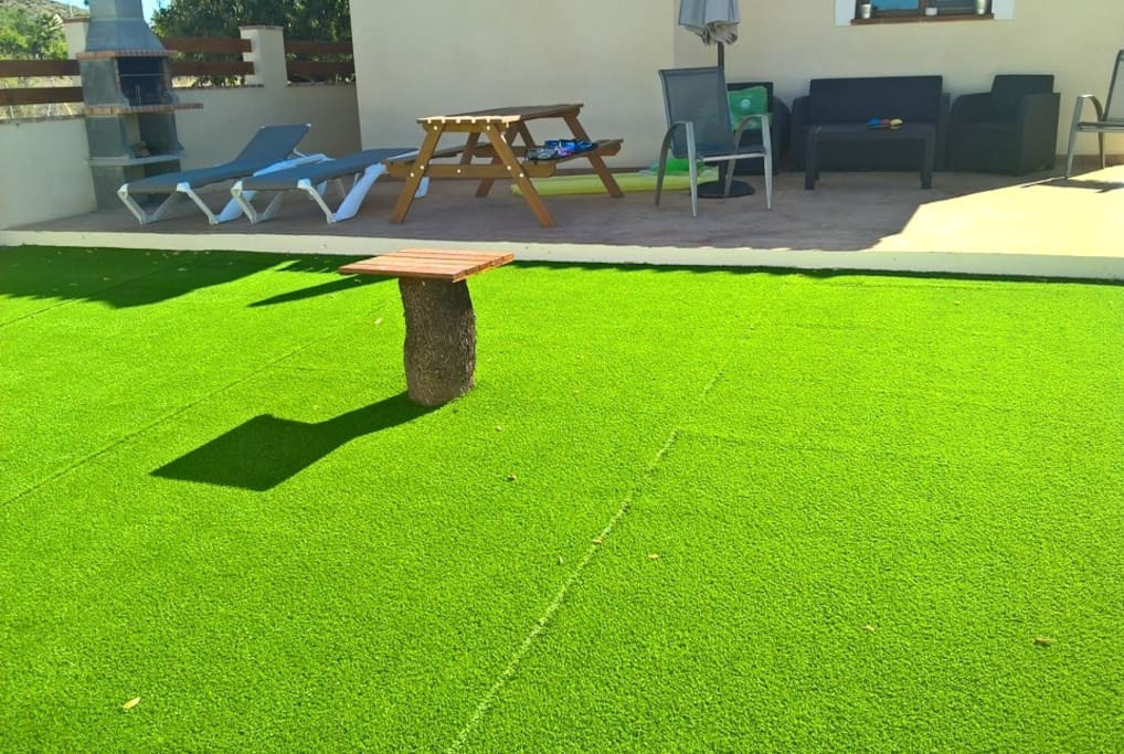 Artificial Grass and Table area
