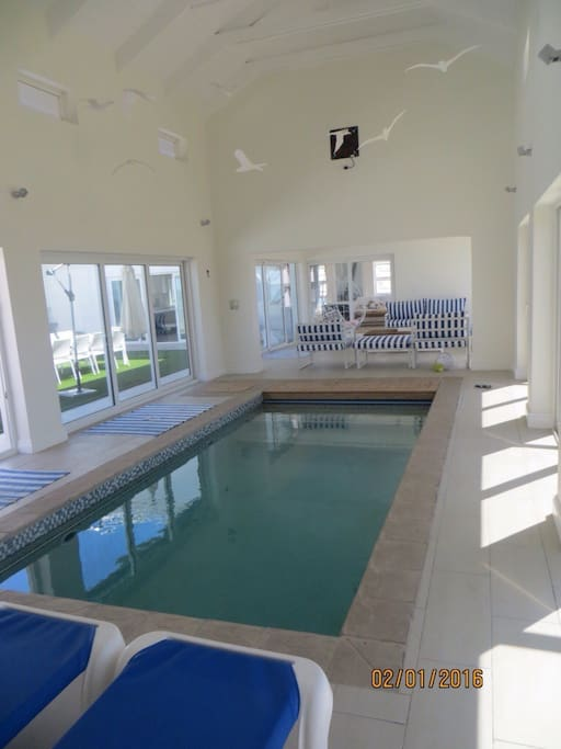 Indoor heated pool with loungers