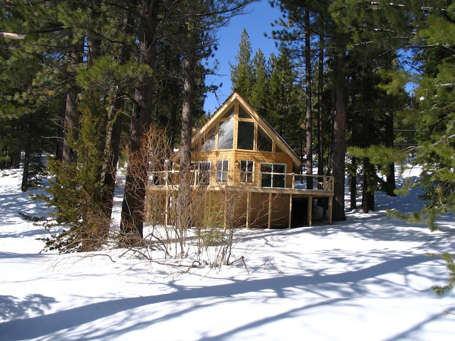 Curt 39 s luxury cabin with winter wonderland views houses for Lake tahoe winter cabin