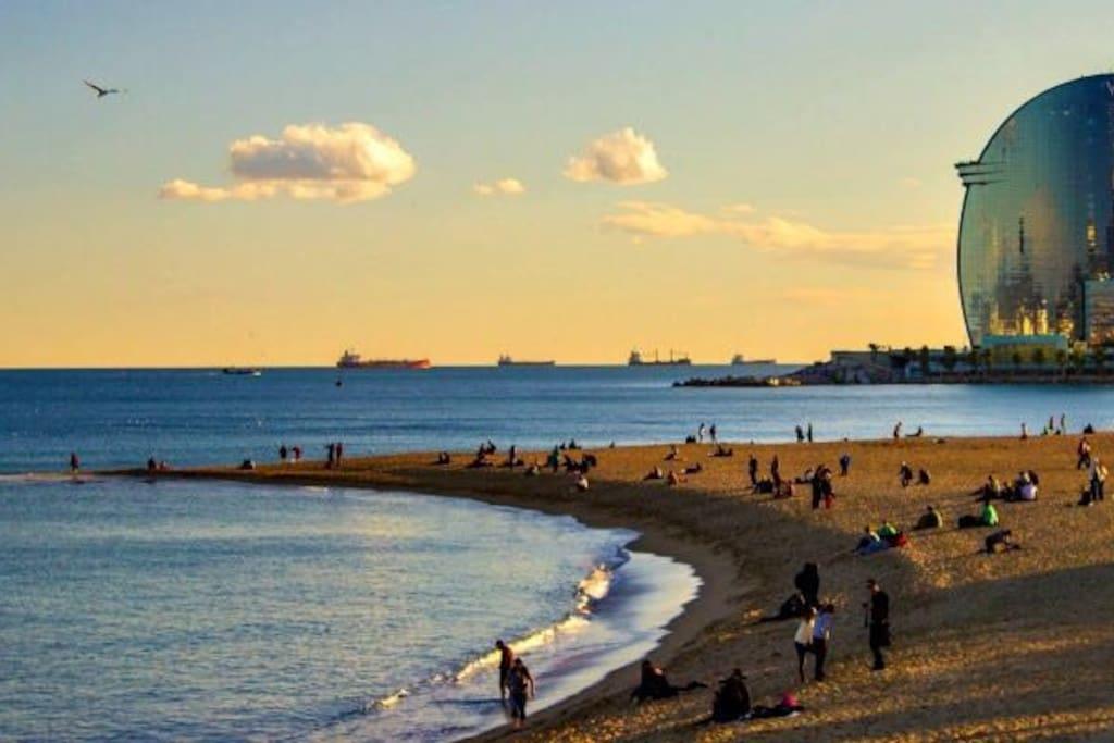 Next to the beach of Barceloneta