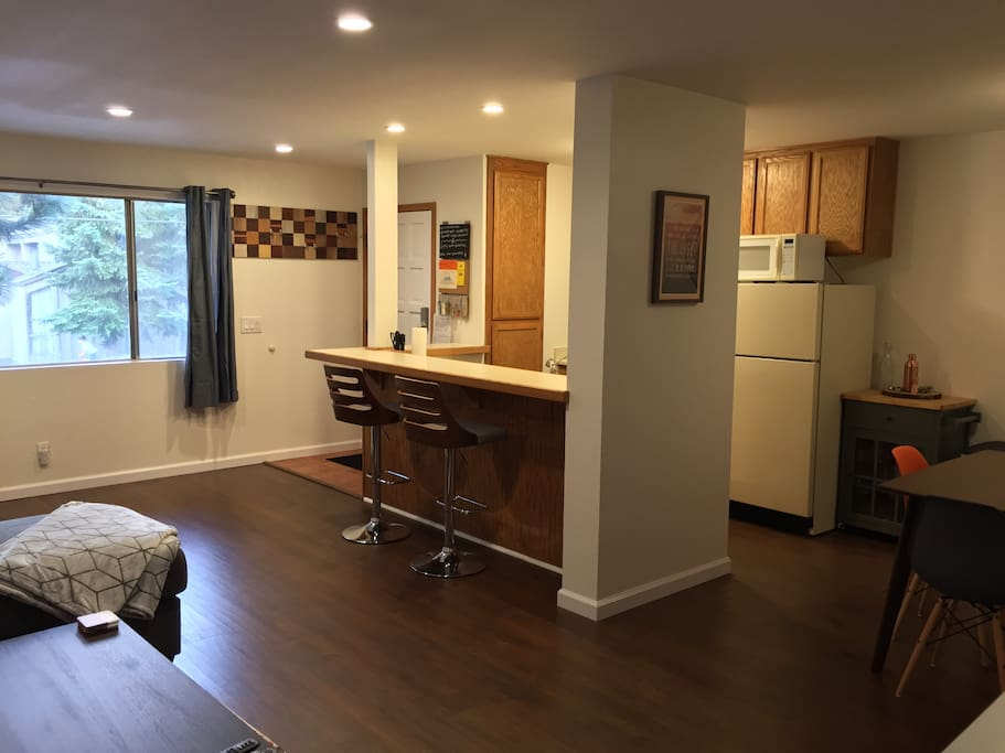 Open -concept  kitchen, dining, living area