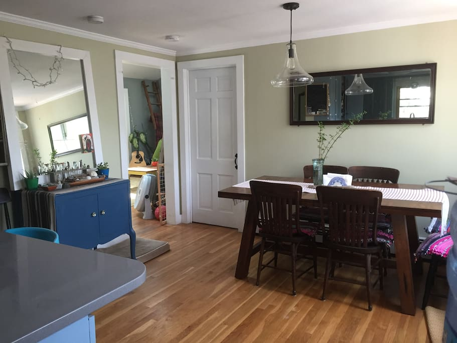 the bright and sunny dining room