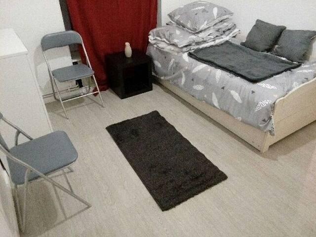 Salon avec lit 90x190 et tiroir lit 90x190.