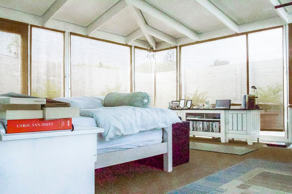 SLEEP: Our bright and airy bedroom, with panoramic views