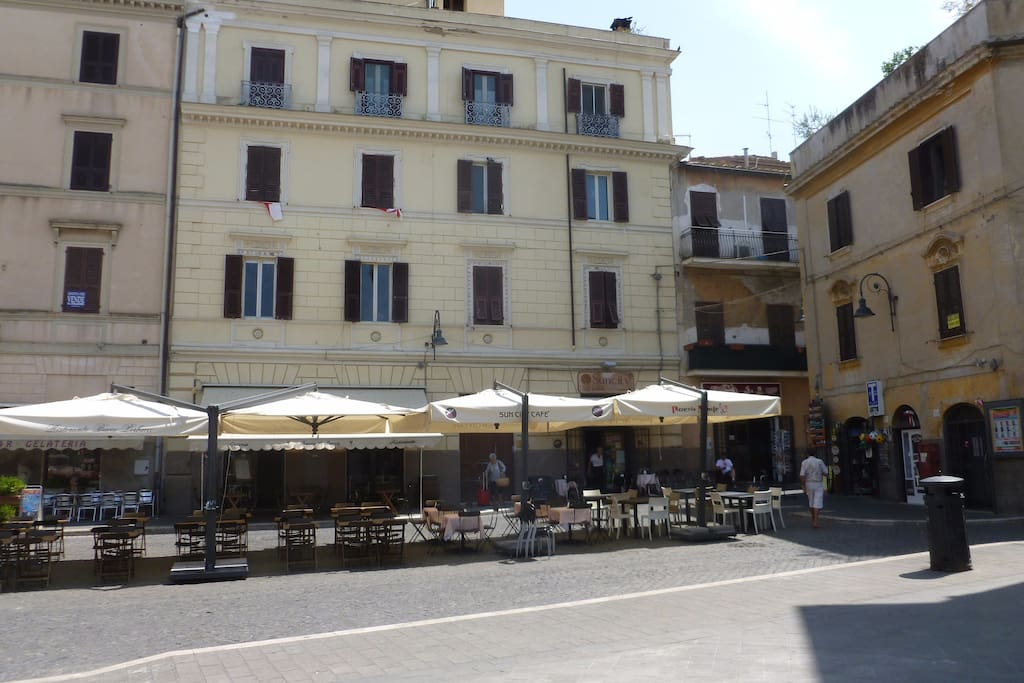 Apartment is on the first floor looking out onto Piazza Cavour--the main square of Tarquinia.