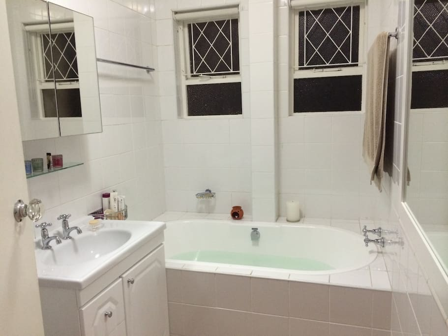 The biggest and best bath tub to relax in, basin, toilet