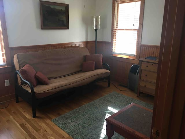 Sunny sitting room/bedroom 2 with double futon