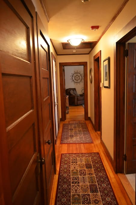 Spacious hallway with abundant closet space.