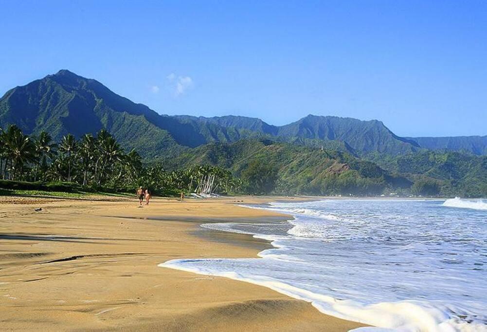 Hanalei Bay beach - 10 min drive