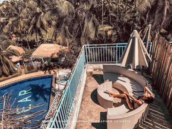海棠湾「比邻 重返自然」椰林泳池阳台房#海边1km#亚特兰蒂斯#免税店#南田温泉#椰子洲岛#送照片#