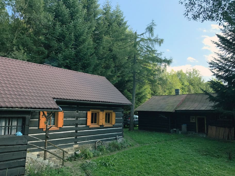Cabin and the party house with the sauna and place for extra four people to sleep in
