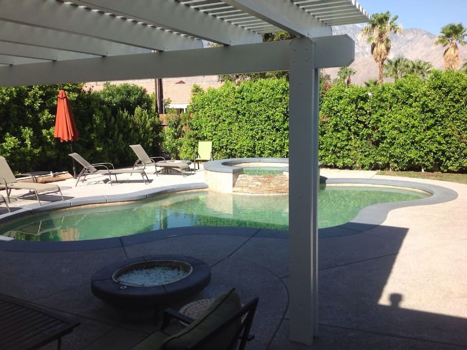 Two gas fire pits  Shade next to pool