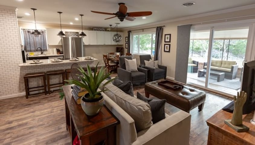 View of Living Room, Patio, Kitchen, Dining Room