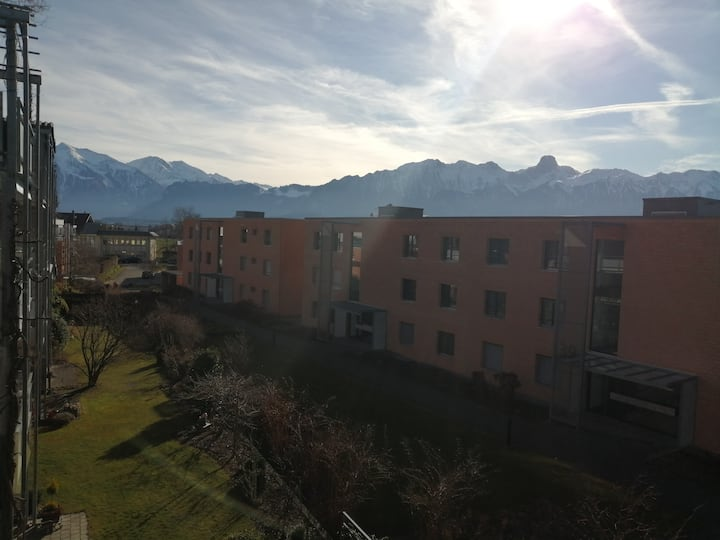 Lovely guestroom with balcony, view of mountains