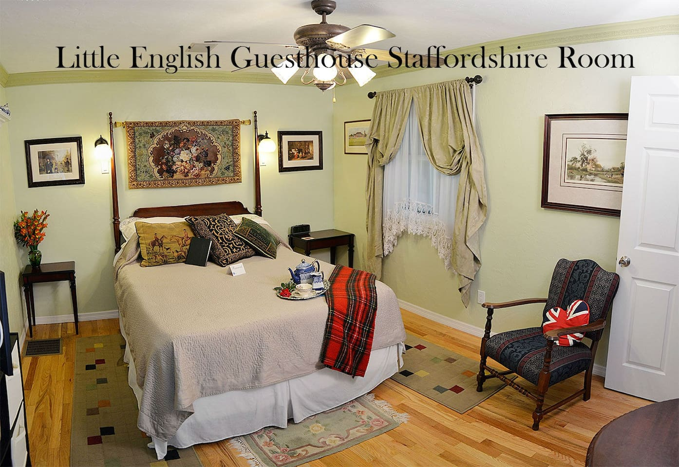 Little English Guesthouse - Staffordshire Room. Queen bed with private ensuite bathroom. Window opens into our conservatory where you can sit and relax with a cup of tea! More photos available on our website where you can also book direct!