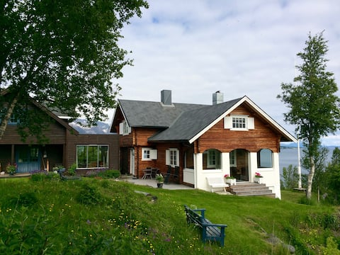 Country log cabin near town, fantastic view