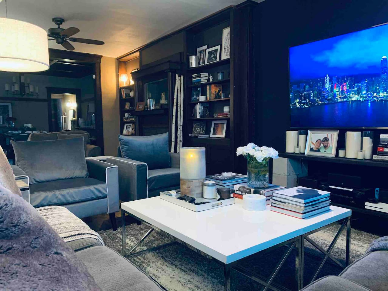 Cozy and modern style livingroom with a 80 inch 4K oled hdr tv with all the current generation game consoles and streaming services provides from Netflix,HULU, amazon instant,HBO all the movie and tv channels and access to hundreds of 4K movies!