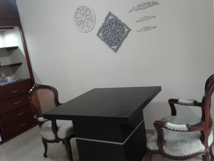 Small table with chairs for dining