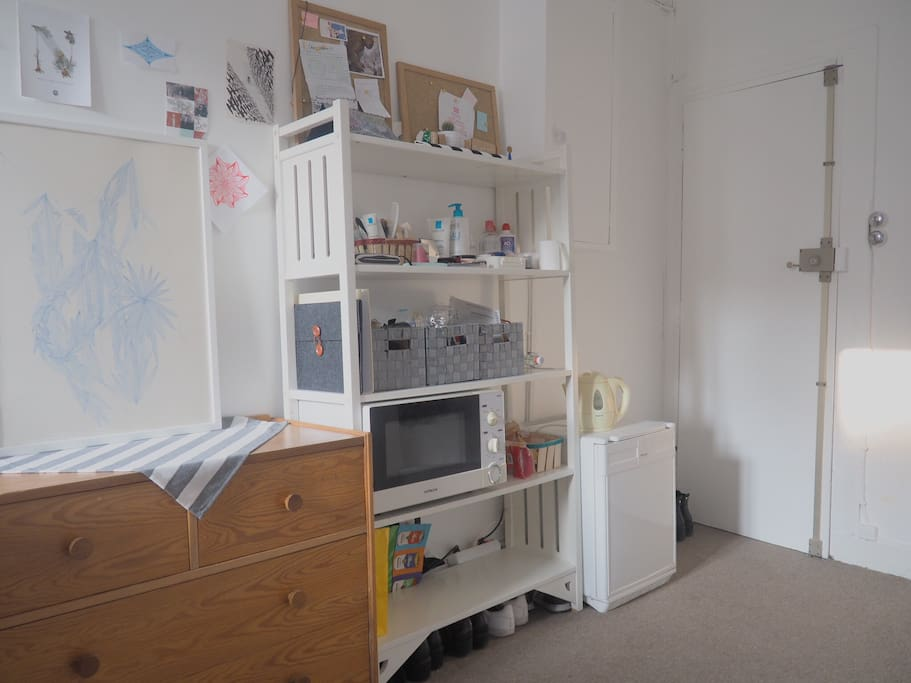 Little fridge, microwave, water boiler