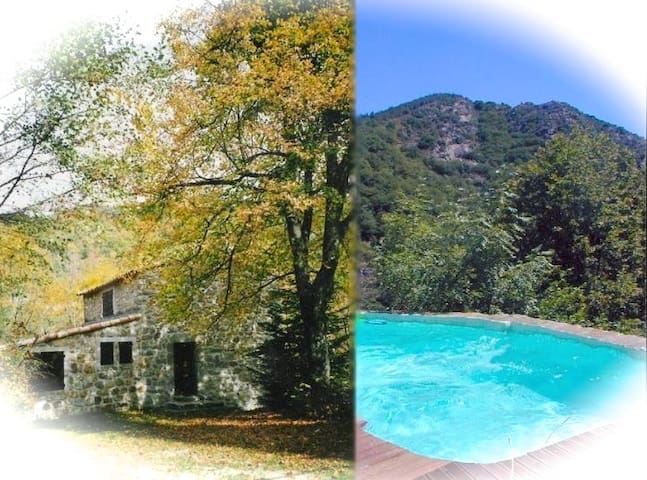 Maison en pierre, piscine privée - Juvinas - Huis