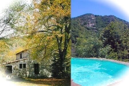 Maison en pierre, piscine privée - Juvinas