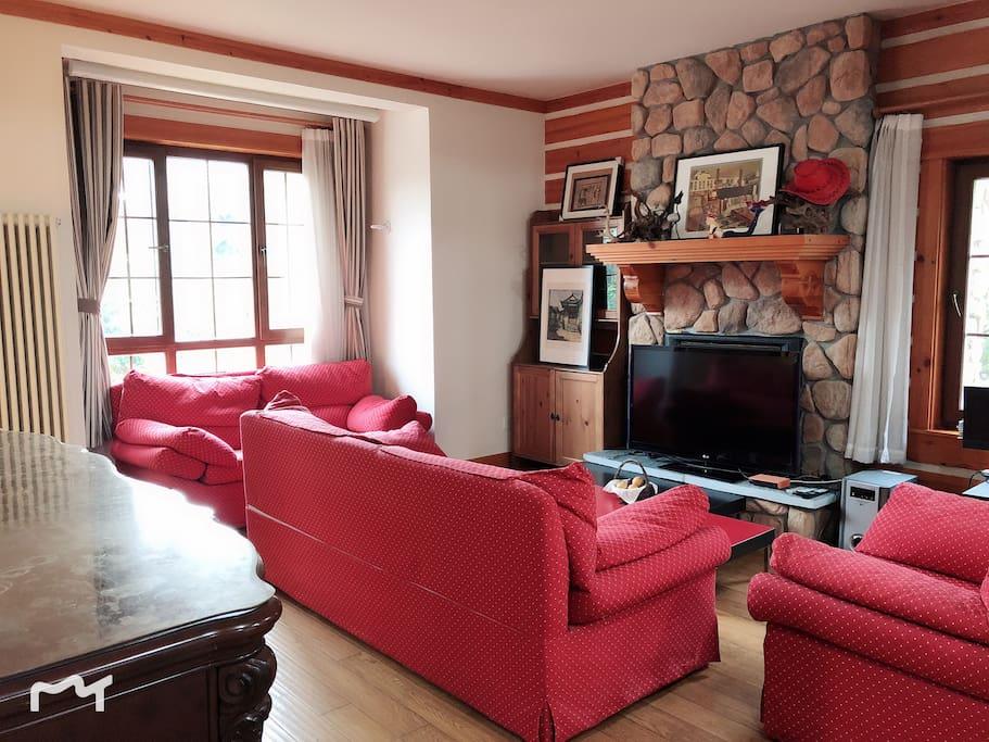 客厅区域、壁炉、电视机