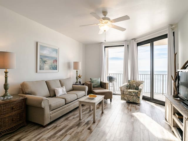 Updated Beachfront Condo with Private Balcony. Enjoy Beach Views for Miles! Indoor & Outdoor Pools!