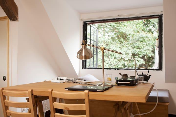 """(新居)被绿树环绕的复古""""木屋"""" 静安法租界花园洋房 - Şangay - Daire"""