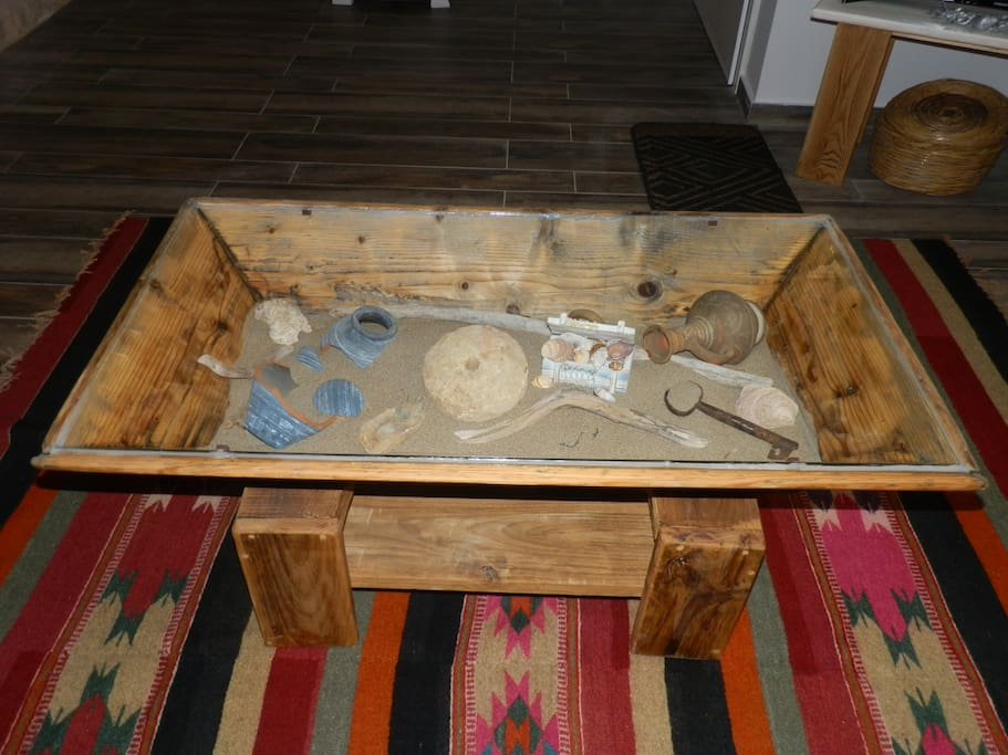 The handmade wooden old basin-table