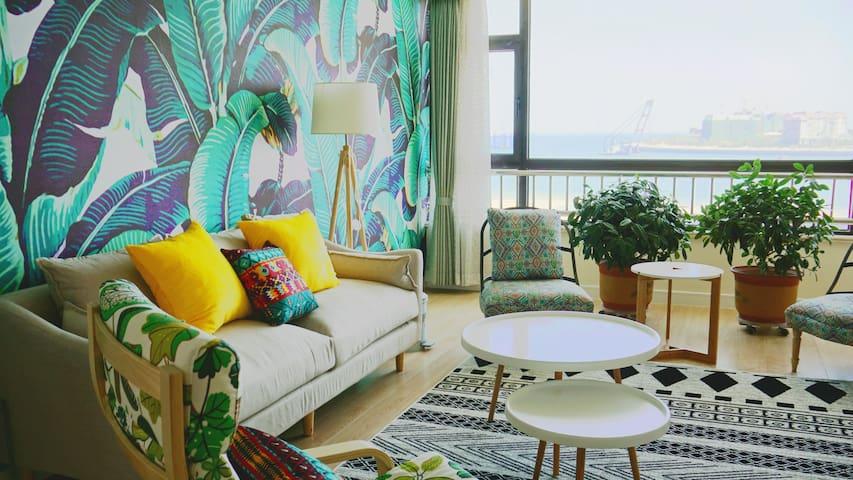 【水清沙白】270°海景两室两厅一厨一卫公寓整套出租(多图实拍)青岛市黄岛区万达东方影都 - Qingdao - Apartment