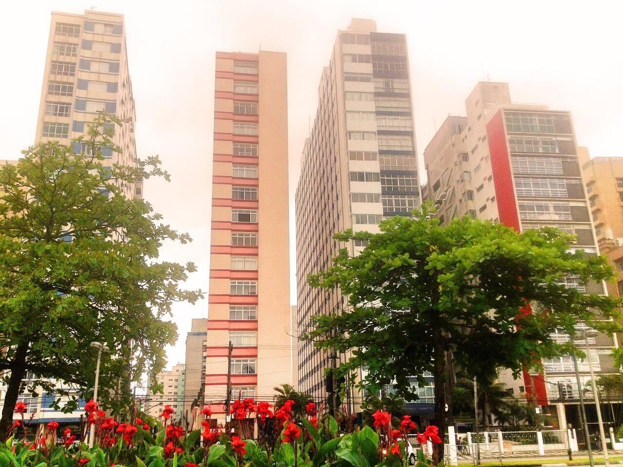 A fachada do prédio