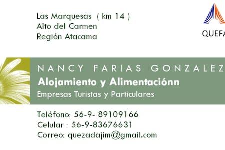 Cabañas y Alimentación QUEFAR, Alto del Carmen.