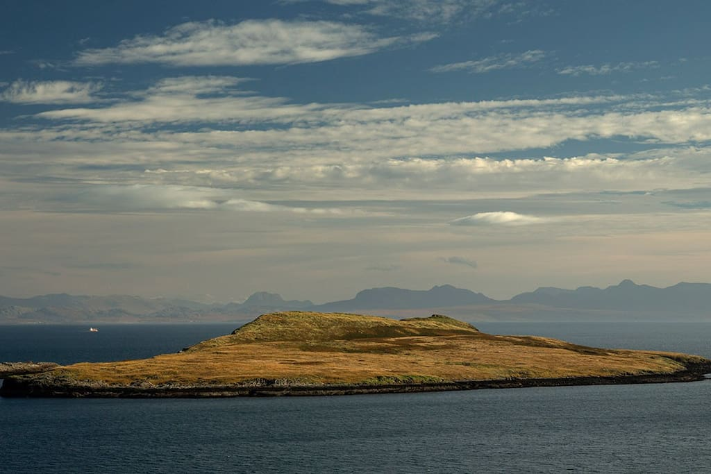 View of Flodigarry Island with the Torridon mountains in the background