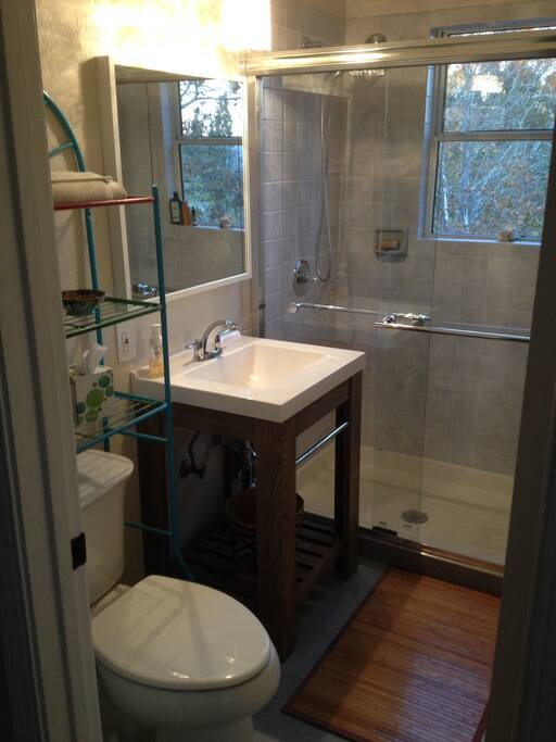 This is the guest bathroom with shower and amenities.