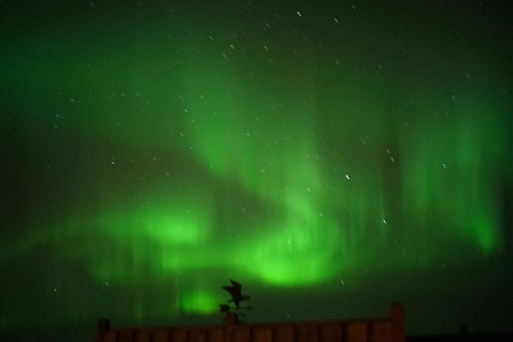 Norther lights seen from the hot tub January 2018