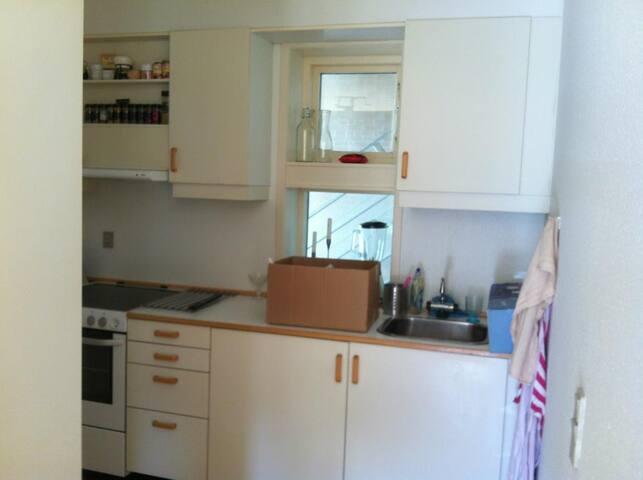 kitchen with stove, oven, fridge and freezer