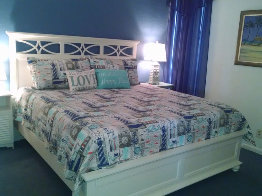 Master Bedroom with new king size Noctova Eclipse mattress.  So comfortable!