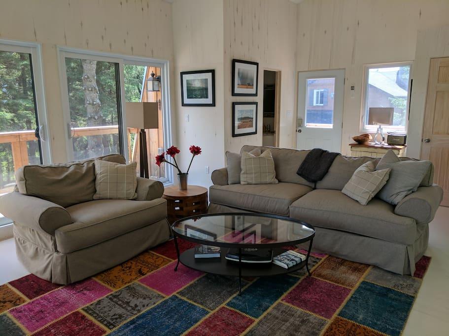 Inside: down-filled furniture.