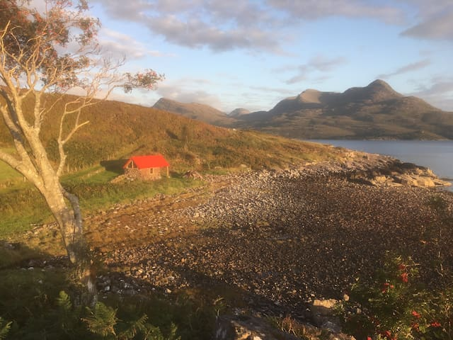 View South from the 1st Tee. (Fisherman's Bothy and Beinn Damph)