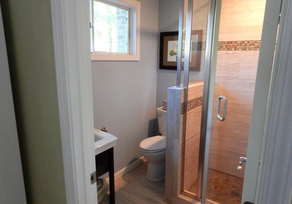 Newly renovated bathroom with a shower.