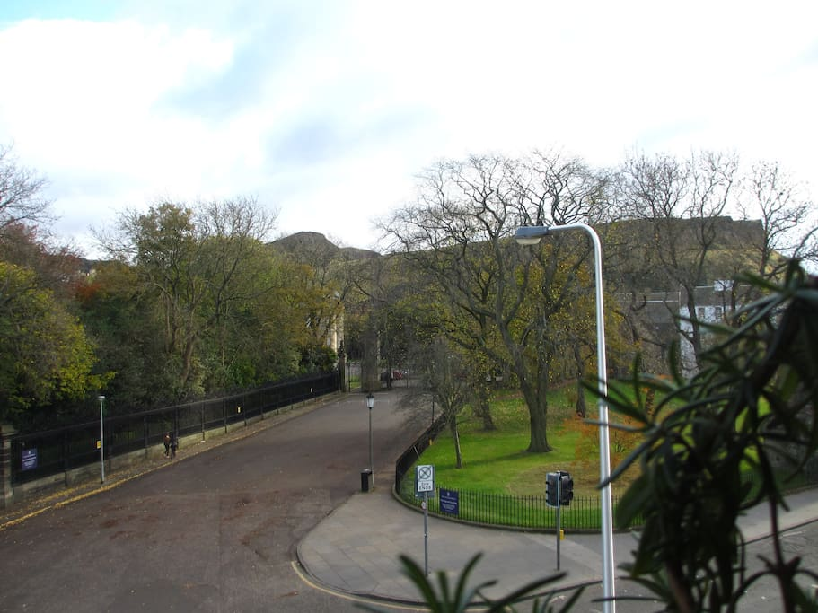 View out of living room window. The apartment is situated in proximity to Arthur Seat, which you can see here