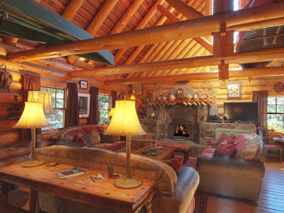 Great Room with big fireplace and upscale lodge furnishings