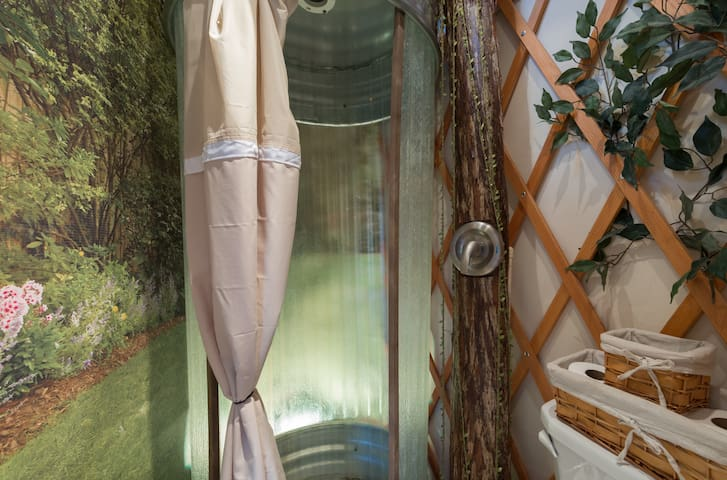 Personal shower inside the treehouse