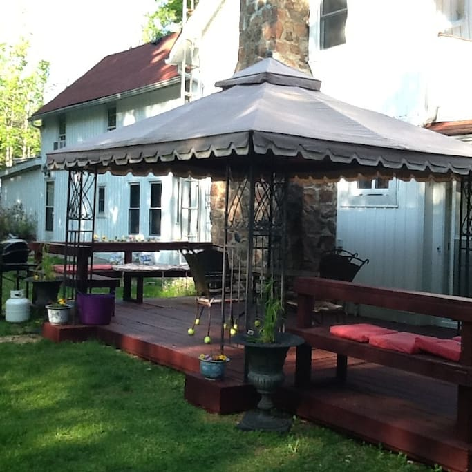 Very private back yard with deck, bbq, firepit and gazebo