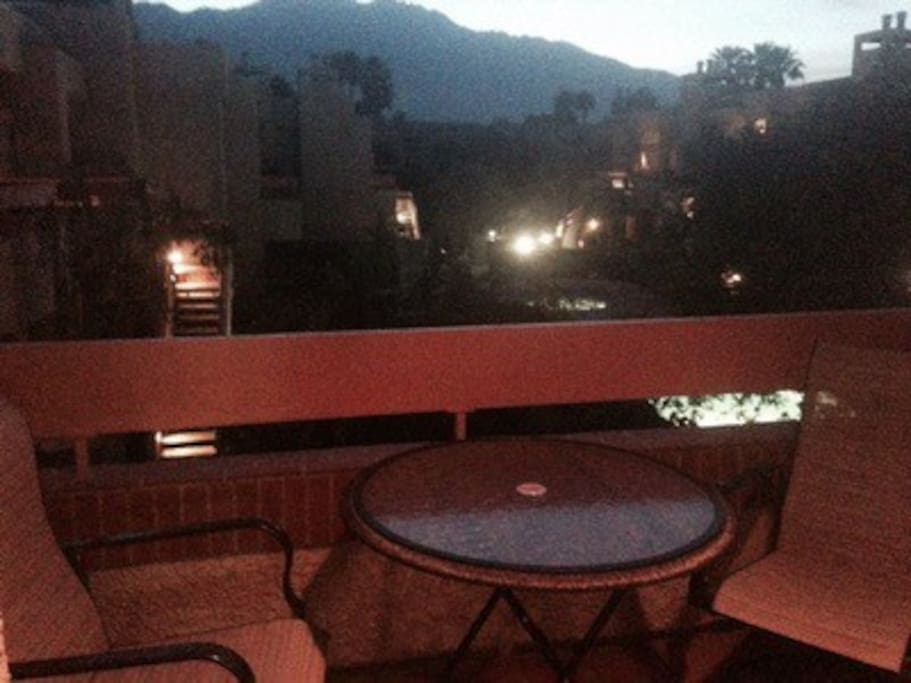 patio at night - beautiful mountain views