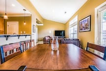 Kitchen table and living room