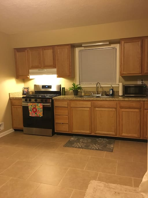 A large kitchen perfect for cooking brunch and snaking!