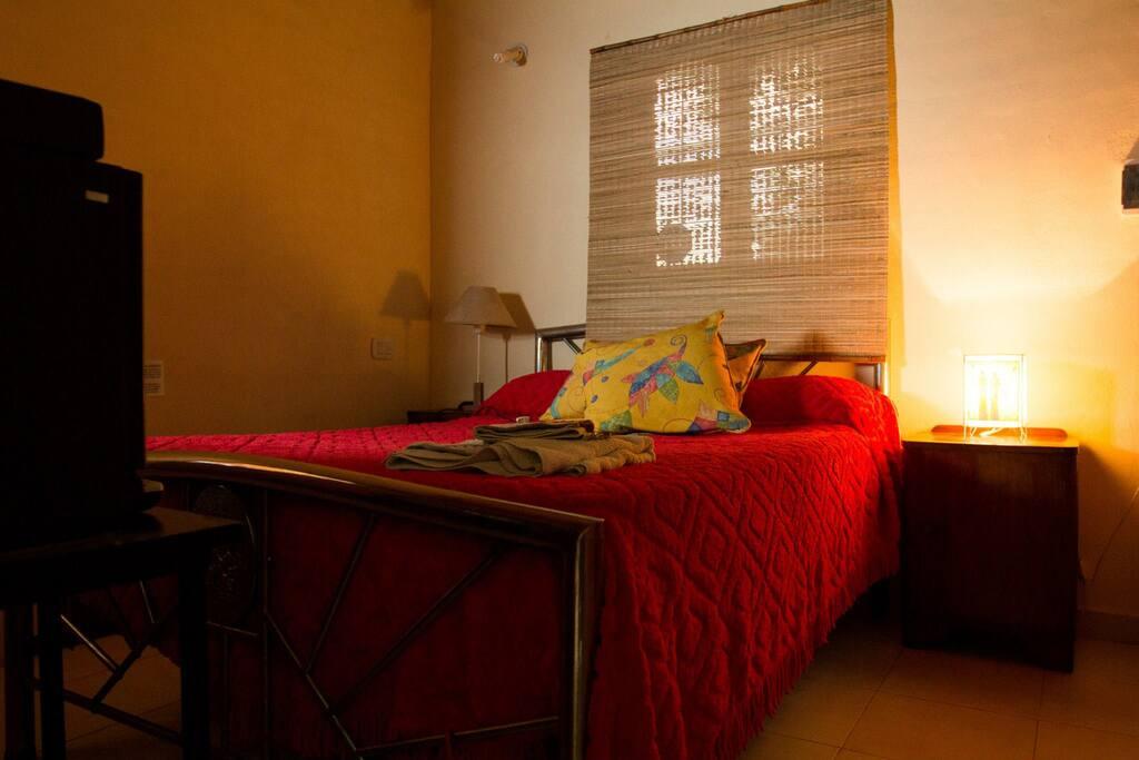 Room with double bed and tv. // Habitación con cama matrimonial.